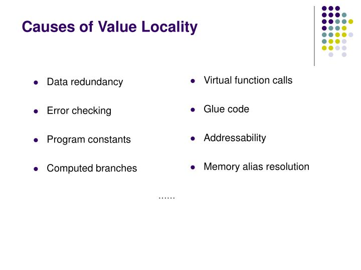 Causes of Value Locality
