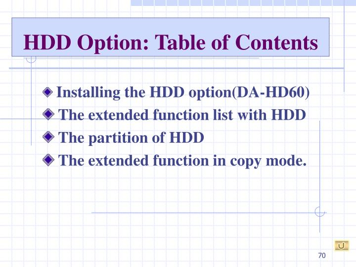 HDD Option: Table of Contents