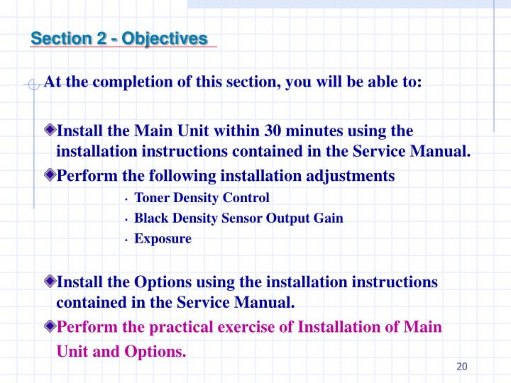 Section 2 - Objectives