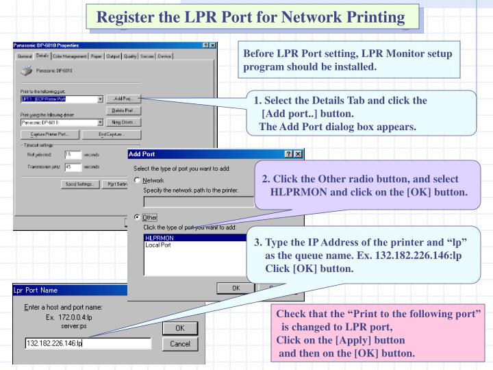 Register the LPR Port for Network Printing