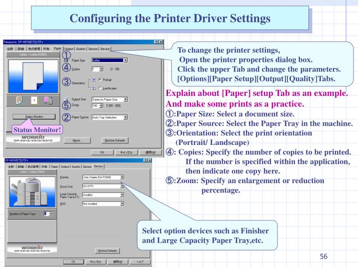 Configuring the Printer Driver Settings