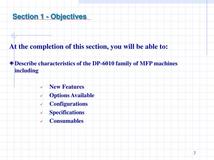Section 1 - Objectives