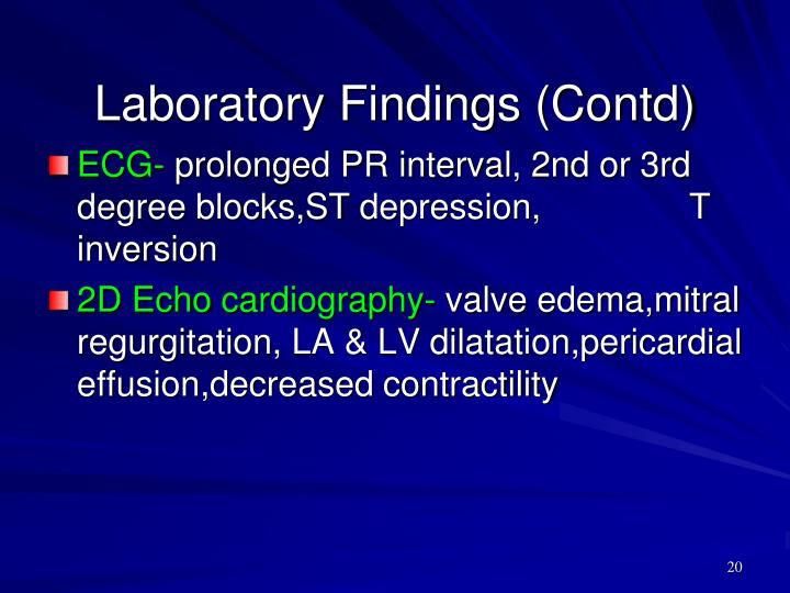 Laboratory Findings (Contd)