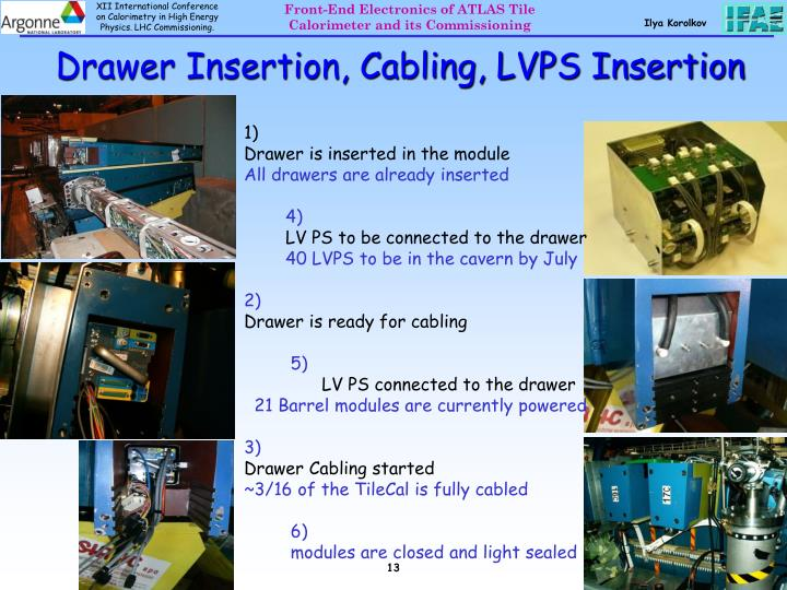 Drawer Insertion, Cabling, LVPS Insertion
