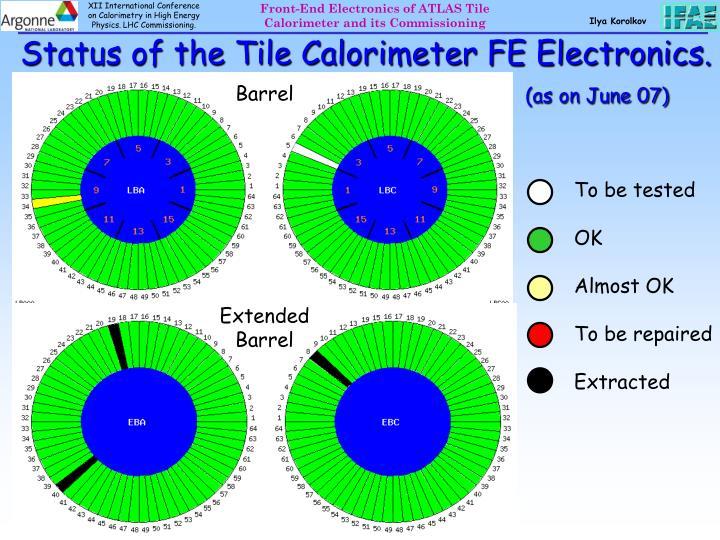 Status of the Tile Calorimeter FE Electronics.