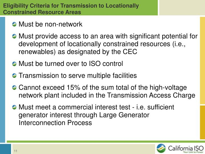 Eligibility Criteria for Transmission to Locationally Constrained Resource Areas