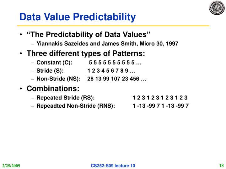 Data Value Predictability