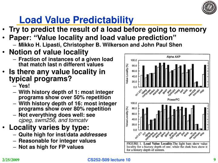 Load Value Predictability