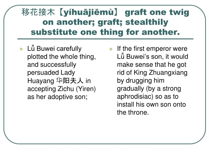 Lǚ Buwei carefully plotted the whole thing, and successfully persuaded Lady Huayang