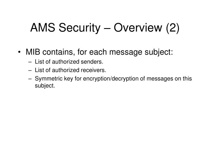 AMS Security – Overview (2)