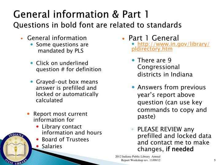 General information & Part 1