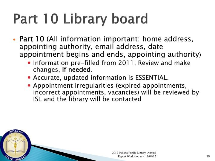 Part 10 Library board