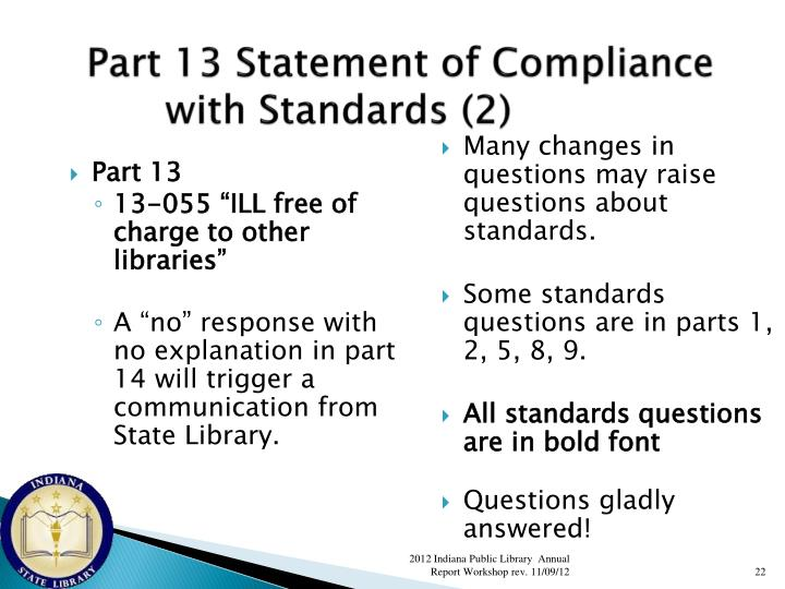 Part 13 Statement of Compliance with Standards (2)