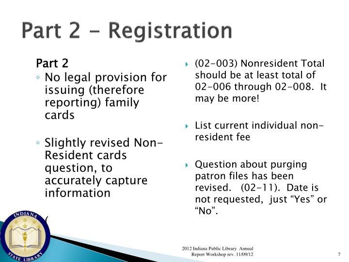 Part 2 - Registration