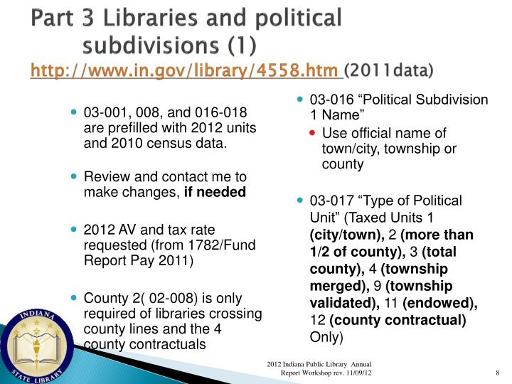 Part 3 Libraries and political subdivisions (1)