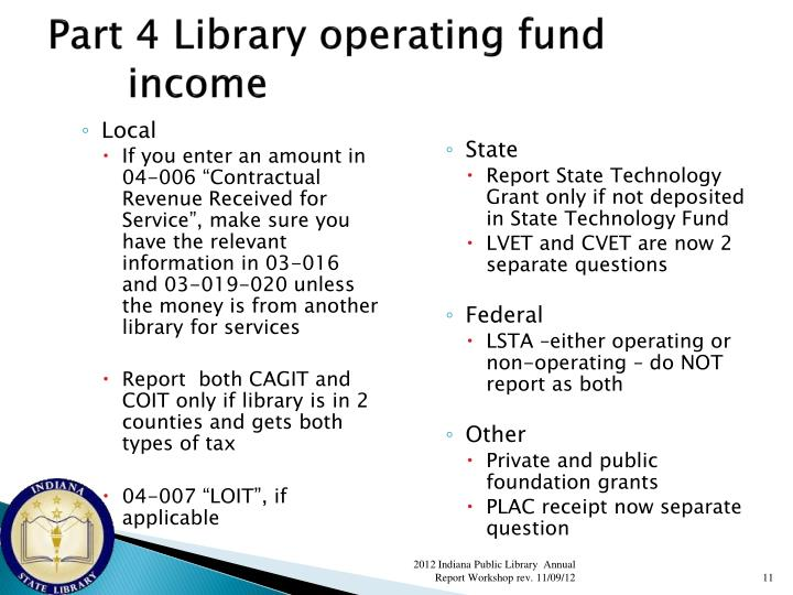 Part 4 Library operating fund income