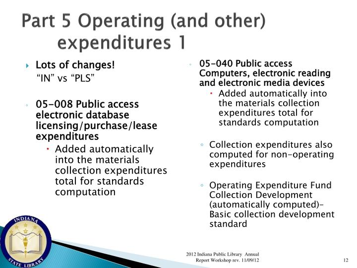 Part 5 Operating (and other) expenditures 1