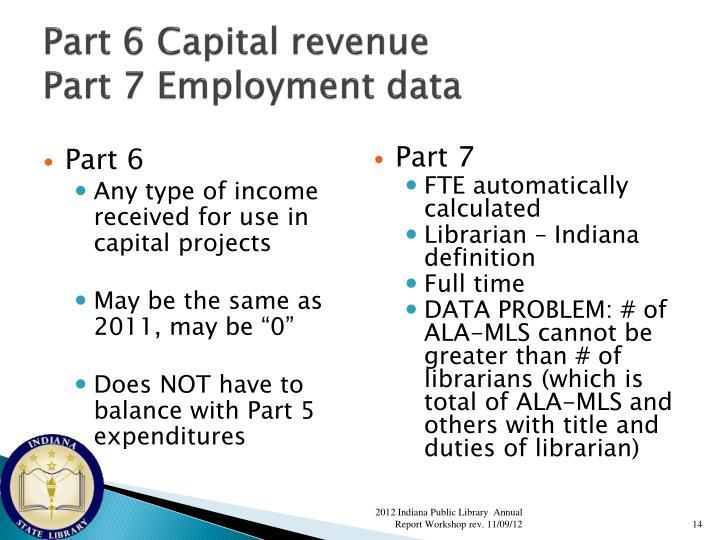 Part 6 Capital revenue