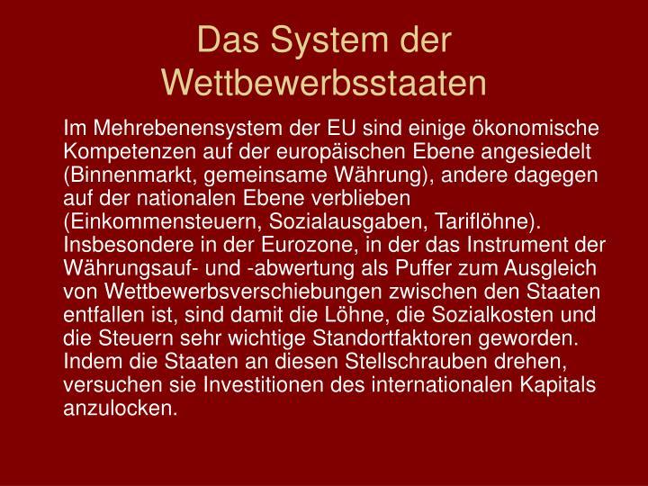 Das System der Wettbewerbsstaaten