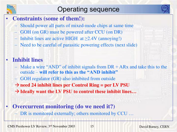 Operating sequence