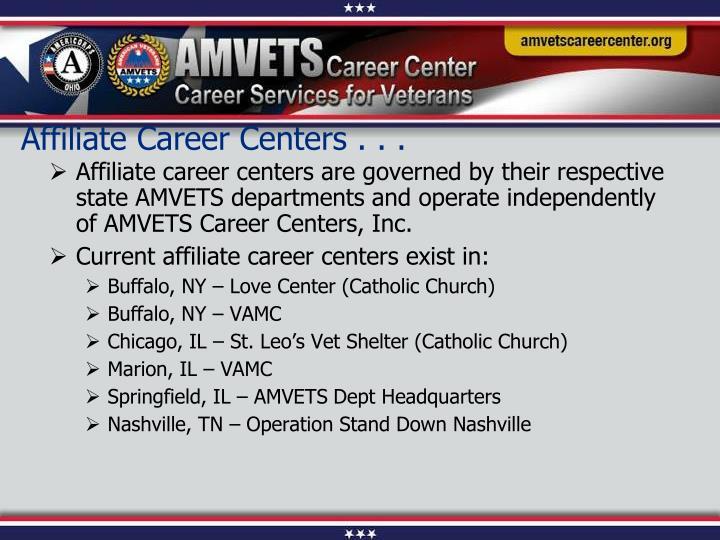 Affiliate Career Centers . . .