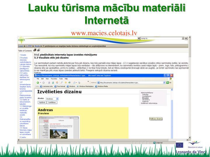 Lauku tūrisma mācību materiāli Internetā
