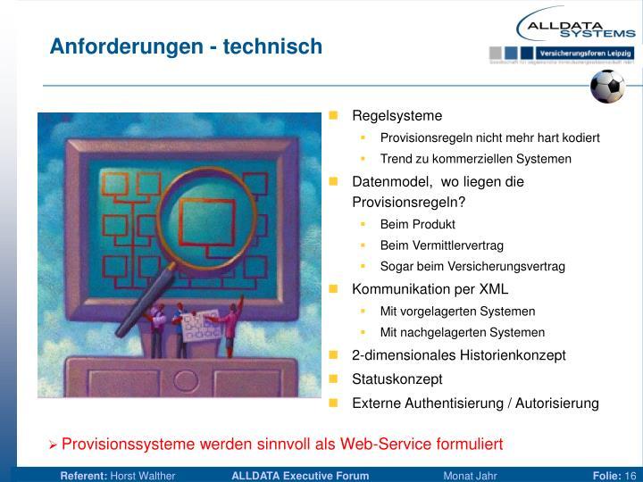 Anforderungen - technisch