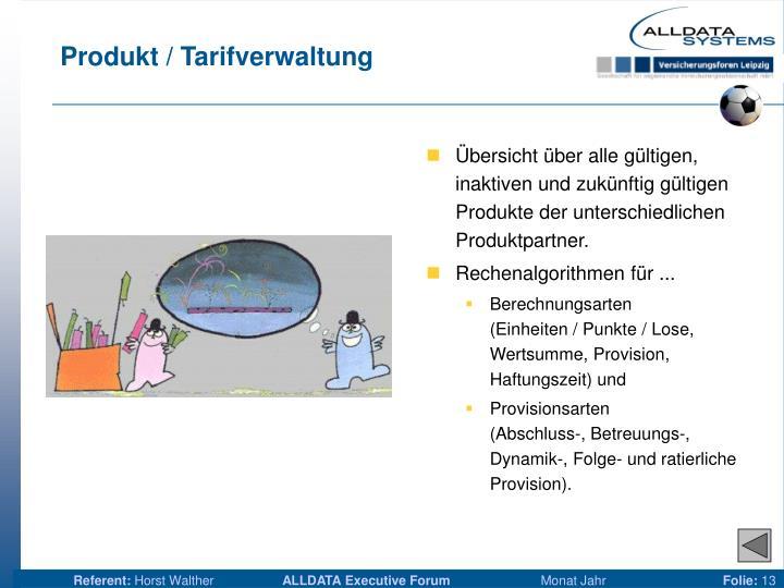 Produkt / Tarifverwaltung