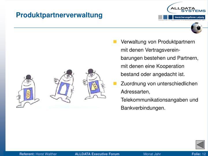 Produktpartnerverwaltung