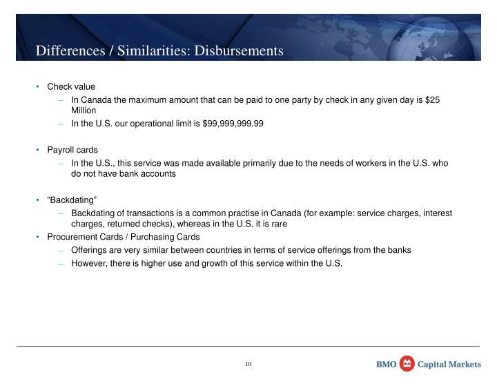 Differences / Similarities: Disbursements