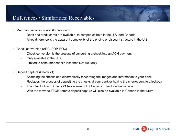 Differences / Similarities: Receivables
