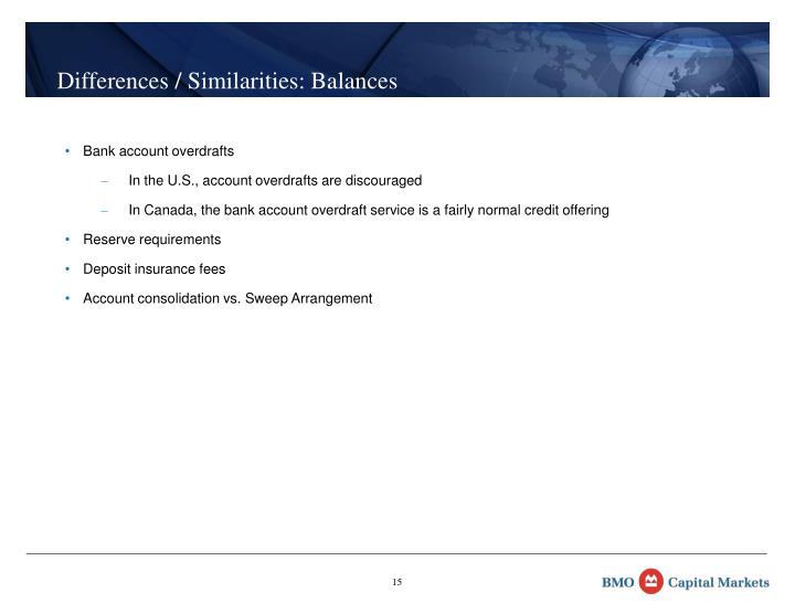 Differences / Similarities: Balances