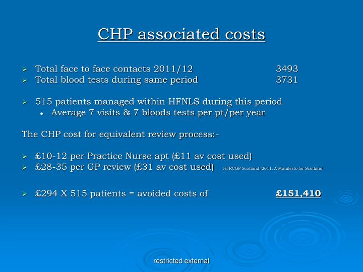 CHP associated costs