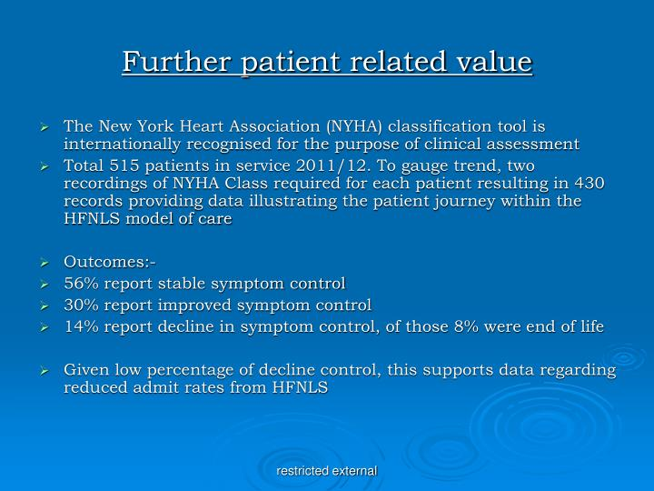 Further patient related value