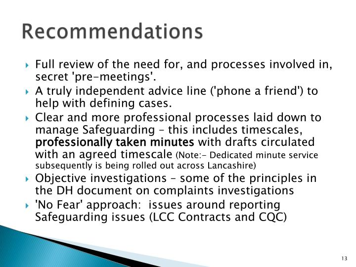 Full review of the need for, and processes involved in, secret 'pre-meetings'.