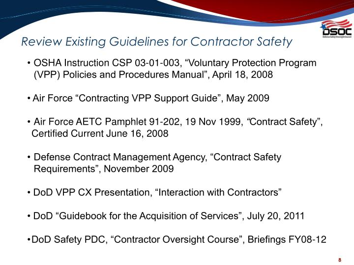 Review Existing Guidelines for Contractor Safety