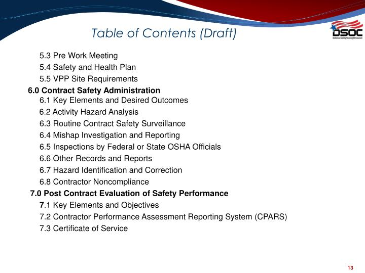 Table of Contents (Draft)
