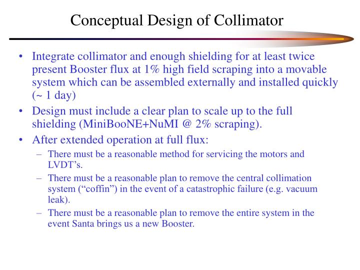 Conceptual design of collimator