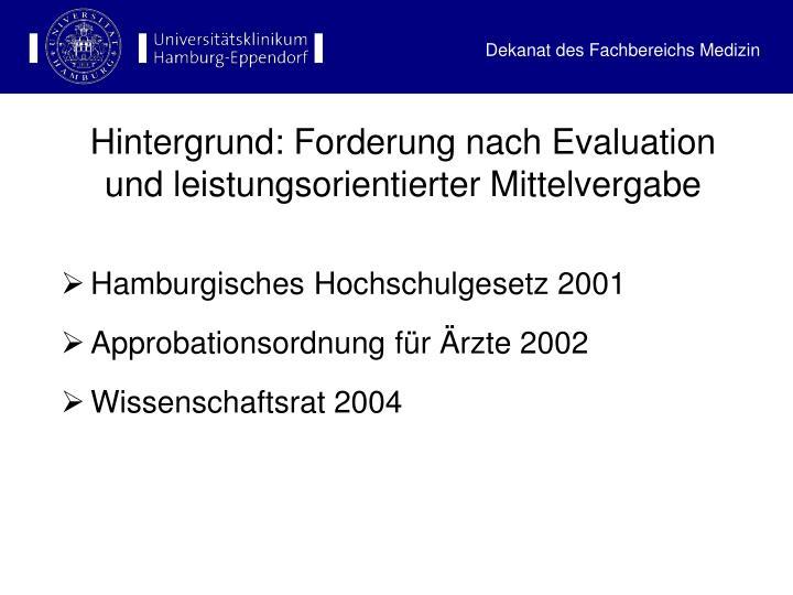 Hintergrund: Forderung nach Evaluation