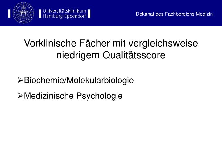Vorklinische Fächer mit vergleichsweise niedrigem Qualitätsscore