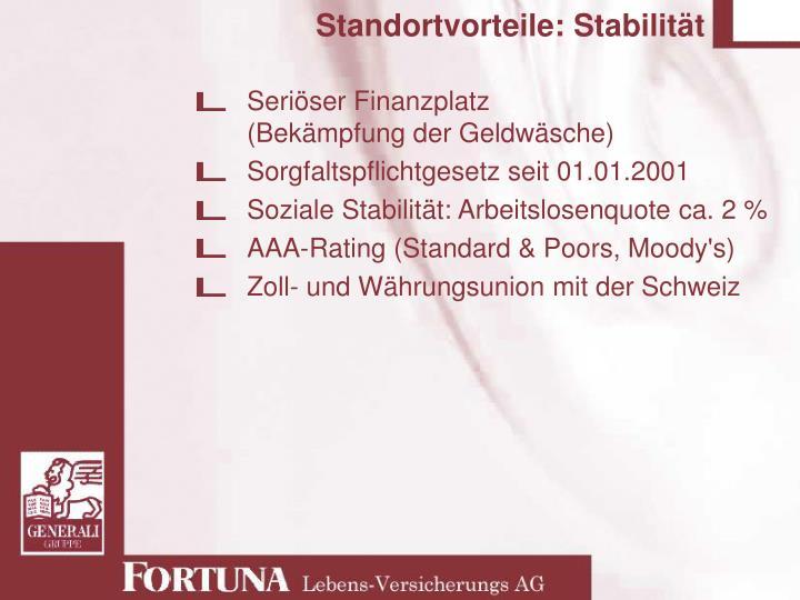 Standortvorteile: Stabilität