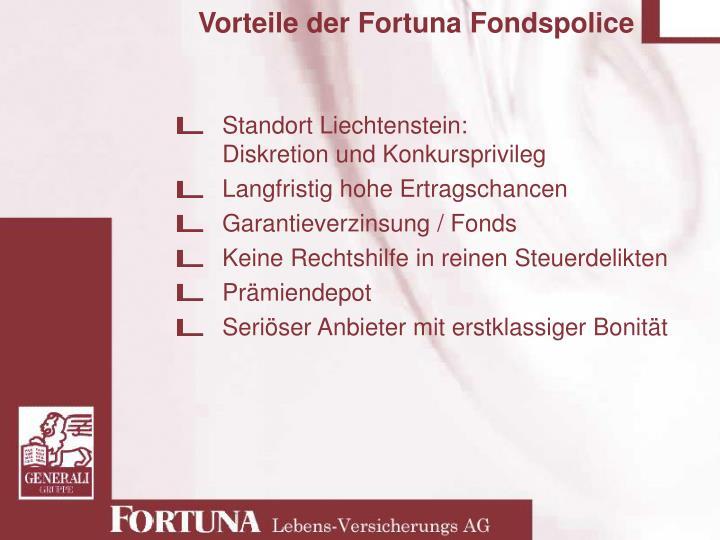 Vorteile der Fortuna Fondspolice