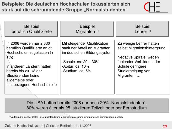 """Beispiele: Die deutschen Hochschulen fokussierten sich stark auf die schrumpfende Gruppe """"Normalstudenten"""""""