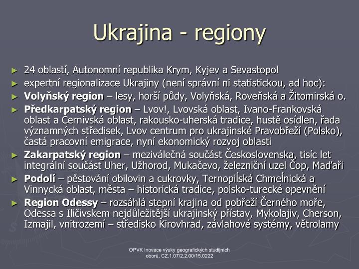 Ukrajina - regiony