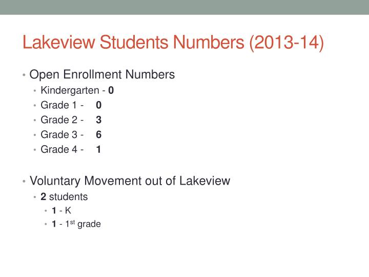 Lakeview Students Numbers (2013-14)