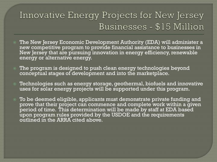 Innovative Energy Projects for New Jersey Businesses - $15 Million