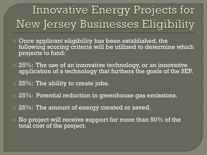 Innovative Energy Projects for New Jersey Businesses Eligibility