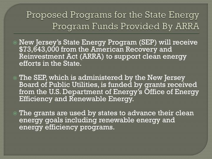 Proposed Programs for the State Energy Program Funds Provided By ARRA