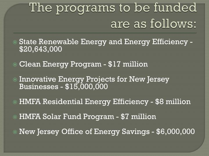 The programs to be funded