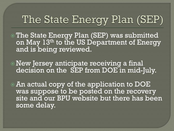 The State Energy Plan (SEP)